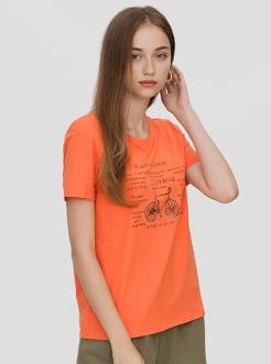 三福2019夏裝新品女自行車印花短袖T恤 圓領韓版上衣女