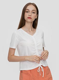 三福2019夏裝新品女抽繩收腰短T恤 簡約休閑短上衣女