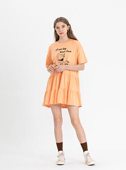三福2019夏裝新品女荷葉邊下擺連衣裙 潮流印花中長裙女