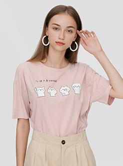 三福2019夏裝新品女貓咪印花T恤 韓版可愛短袖上衣女