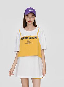 三福2019夏裝新品女吊帶英文短袖T恤 韓版印花上衣女