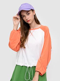 三福2019秋裝新品女撞色長袖T恤 潮流薄款罩衫上衣女