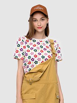 三福2019夏裝新品女韓范chic短袖T恤 彩色印花上衣女