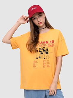 三福2019夏裝新品女卡通人物印花短袖T恤 cec圓領上衣女