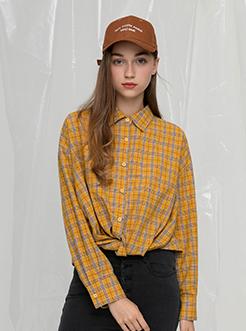 三福2019秋裝新品女格子扭結襯衫 寬松長袖襯衣女