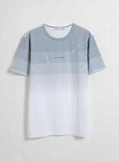 三福2019夏裝新品男漸變橫條短袖T恤 時尚休閑上衣男