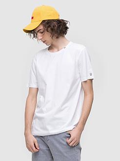 三福2019夏裝新品男領口字母刺繡短袖T恤 寬松上衣男