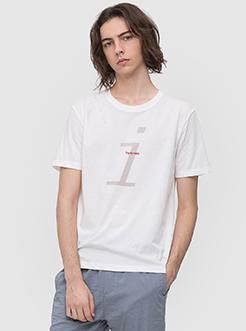 三福2019夏裝新品男胸前刺繡印花T恤 簡約潮流上衣男