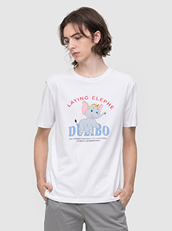 三福2019夏裝新品男小飛象印花短袖T恤韓版寬松上衣男