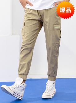 三福2019夏裝新品男工裝休閑褲 潮流拉鏈束腳九分褲男