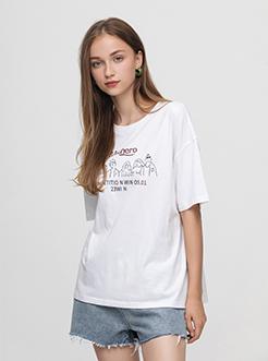 三福2019夏裝新品女簡筆畫印花圓領短袖T恤 休閑上衣女