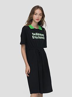 三福2019夏装新品女撞色字母Polo领抽绳T恤裙 休闲裙女