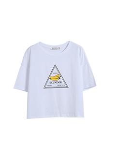 三福2019夏装新品女香蕉印花圆领短袖T恤 休闲上衣女