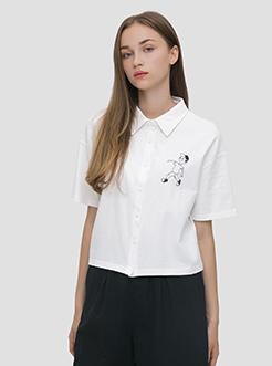 三福2019夏装新品女趣味印花翻领衬衫式T恤 休闲上衣女