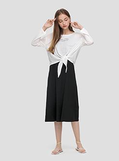 三福2019夏装新品女学院风纯色百褶裙 少女休闲短裙女