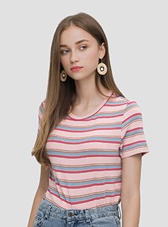 三福2019夏裝新品女撞色條紋針織短T恤 街頭休閑上衣女