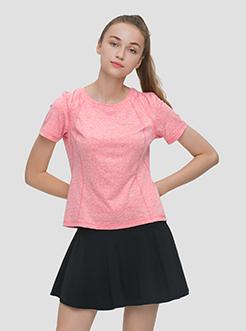 三福2019夏裝新品女雪花紋短袖T恤 休閑瑜伽上衣女