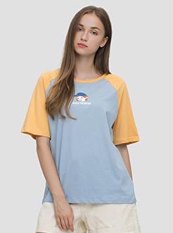 三福2019夏裝新品女撞色拼袖圓領T恤閨蜜款 休閑上衣女