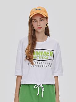 三福2019夏装新品女时尚字母印花抽绳短袖T恤 休闲上衣女