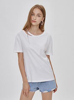 三福2019夏裝新品女圓領鏤空短袖T恤 甜美雙紗上衣女