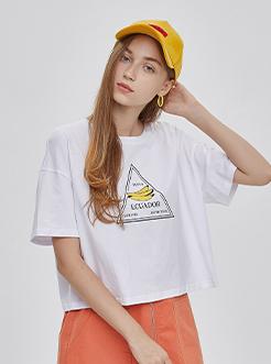 三福2019夏裝新品女香蕉印花圓領短袖T恤 休閑上衣女
