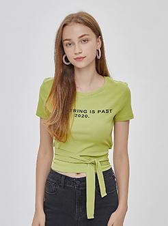 三福2019夏裝新品女字母印花后背綁帶短袖T恤 休閑上衣女