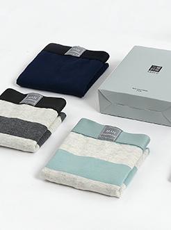 三福男平角內褲 凈色干爽棉質四角底褲 兩條禮盒裝 線上專供款