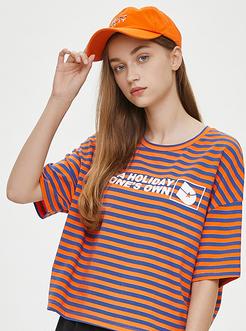 三福2019夏裝新品女時尚英文印花條紋短袖T恤 休閑上衣女