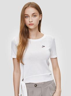 三福2019秋裝新品女潮流綁帶短袖針織T恤 街頭上衣女